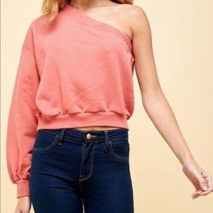 One Shoulder Cropped Sweatshirt
